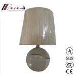 Modern Crystal Round Fabric Shade Table Lamp for Bedroom