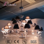 Modern Fabric Shade Glass Pendant Lamp for Luxury Hotel Room
